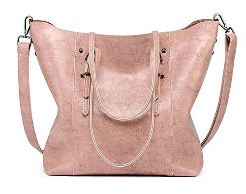 Women Handbags,Handmade Large Leather Top Handle Crossbody Shoulder Tote Satchel Messenger Bags Big Purse For Shopping Travel School (Pink)