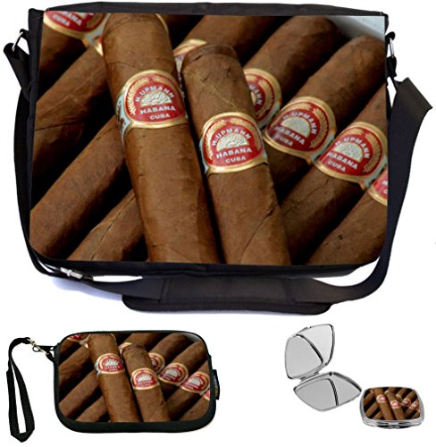 Old Cigarette Cards - Rikki Knight Brown Fancy Cigars Design COMBO Multifunction Messenger Laptop Bag - with padded insert for School or Work - includes Wristlet & Mirror