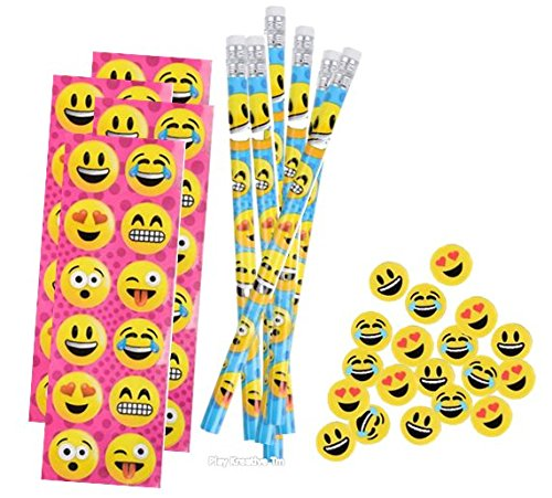 Emoji Stickers, Pencil and Erasers Stationery Sets - Play Kreative TM (EMOJI ) -