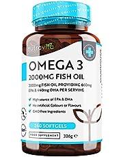 Omega 3 Visolie 2000mg met 660mg EPA & 440mg DHA per Portie - 240 Capsules met Hoge Dosis Pure Visolie - DHA en EPA voor normaal functioneren van het hart - Gemaakt in het V.K. door Nutravita