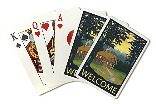 Cabin Scene - Welcome (Playing Card Deck - 52 Card Poker Size with Jokers)