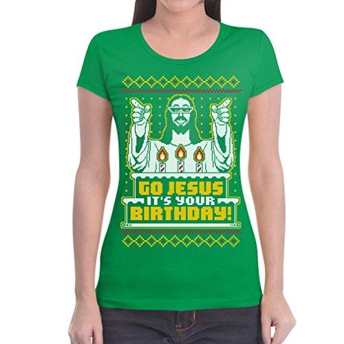 Jesus Fit Go Natalizio Motivo Slim Da Maglietta Verde It's Birthday Your Donna 7Fqn4nfSw