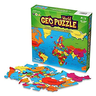 GeoToys — GeoPuzzle World — Educational Kid Toys for Boys and Girls, 68 Piece Geography Jigsaw Puzzle, Jumbo Size Kids Puzzle — Ages 4 and up: Toys & Games