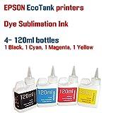 Dye Sublimation Ink 4 color 120ml bottles- EPSON WorkForce EcoTank ET-4550