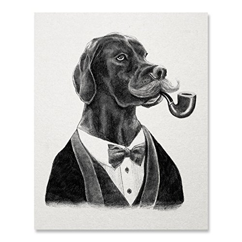 Dog Print / Dapper Dog Print / Black Lab Print / Dogs in Suits / Home Decor / Great Art Gift / 8 x 10