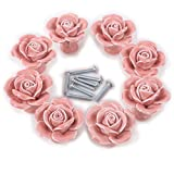8PCS White/Pink Ceramic Vintage Floral Rose Door Knobs Handle Drawer Kitchen + Screw (Pink)