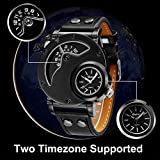 Mens Wrist Watch,Fashion Quartz Analog Dual Time Watch,Cool Unique Leather Band Big Face Watches for Men