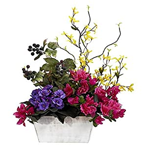 Mixed Floral With Azalea and White Wash Planter Silk Arrangement 53