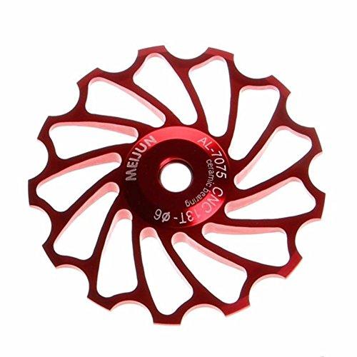 Creazy 13T MTB Ceramic Bearing Jockey Wheel Pulley Road Bike Bicycle Rear Derailleur (Red)