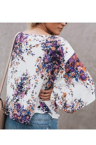 Cou Top Chemisier V 4 Mousseline 3 Up Femmes en Lace Floral Manches Casual Violet T4ZqY7