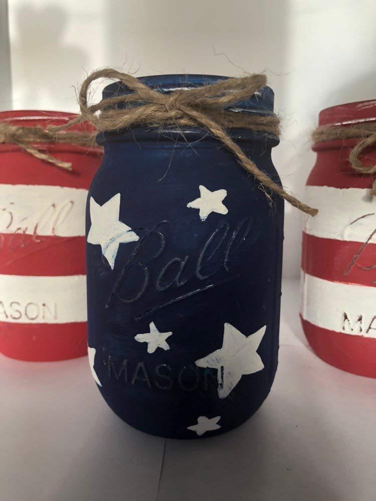 American Flag Mason Jar Set/Fourth of July Decor/Red, White, Blue Mason Jars / 4th of July Decor / 4th of July Mason Jars