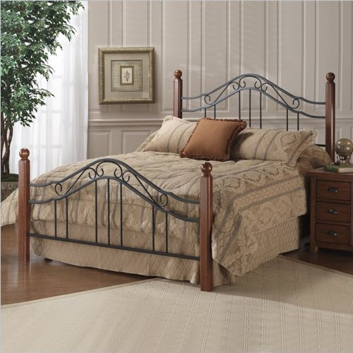 Hillsdale Furniture 1010BKR Madison Bed Set with Rails, King, Textured Black (And Wood Iron Beds)