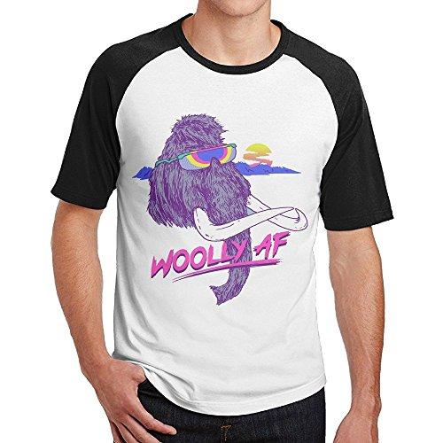 Really Woolly Plush - Sakanpo Men Woolly AF Short Sleeve Baseball T-Shirt Black L