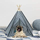 Pet Teepee for Dogs Portable Pet Tent Dog Houses, Modern Teepee Tent for Dogs, 24inches Pet Teepee with Floor Mat for Dog,Cat,Rabbit