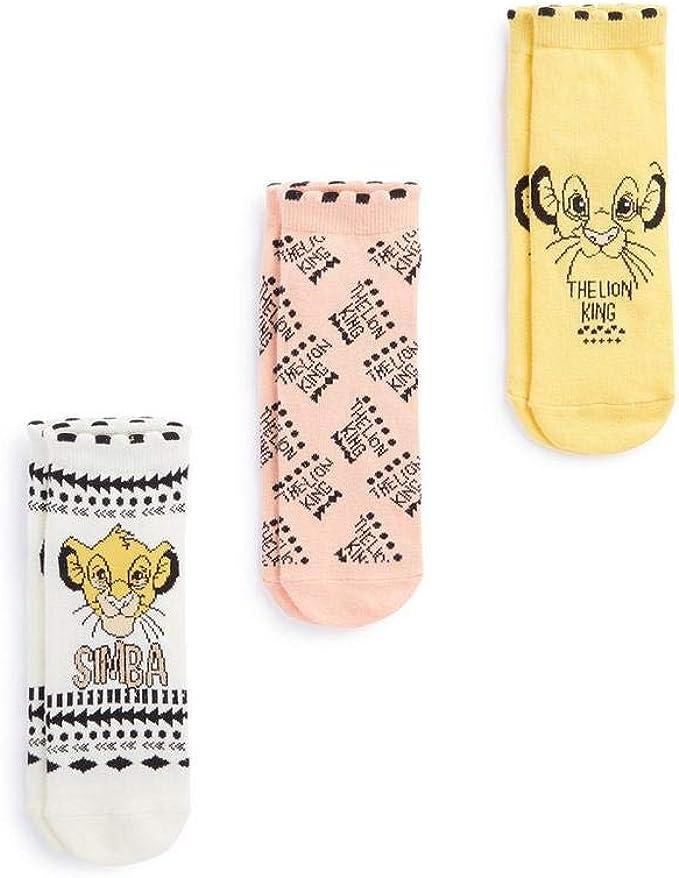 Disney;- The Lion King Shoe Liners Pack de 3 Simba calcetines altos hasta el tobillo, talla 4-8 Primark: Amazon.es: Ropa y accesorios