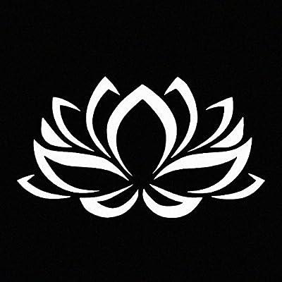 Lotus Flower White Vinyl Car Window Decal Sticker White: Automotive