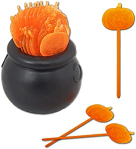 Halloween Party Appetizer Food Picks with Decorative Witch Cauldron Holder - 37 Piece Set