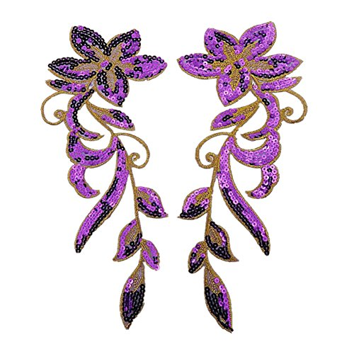 Ximkee 1 Pair Dancing Flower Sequin Sew Iron on Applique Embroidered Patches-Purple