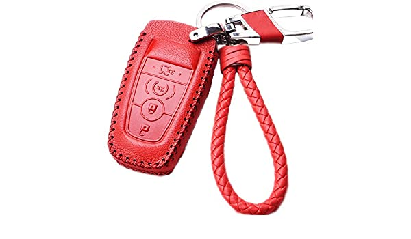 Womens Red Leather Car Key Fob Holder Case Cover Skin Jacket Shell with  Braided Key Chain   Key Rings for 2017 Ford Fusion F250 F350 F450 F550 4 5  Buttons ... bc47b7813