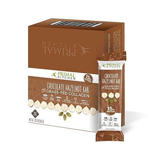 Primal Kitchen, Bar Collagen Chocolate Hazelnut Sleeve, 1.7 Ounce, 12 Pack -