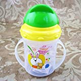 Vistaric 150ml Newborn Infant Baby Cute Rice Cereal Feeding Bottle Newborn Straw Bottle Drinking Bottle Sippy Bottles with Handles: Green