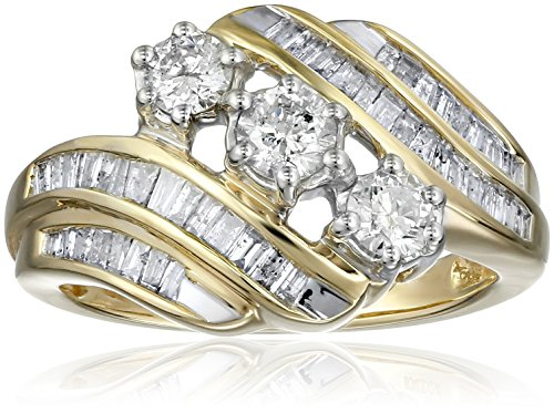 10K Yellow Gold Diamond 3 Stone Ring (1 cttw), Size 7