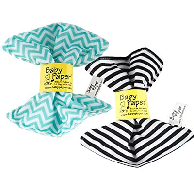 Baby Paper – 2 Pack of Crinkly, Sensory Toys, Black & White Stripe, Turquoise Zig Zag : Baby