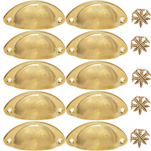 Oil Rubbed Brass Modern Cabinet Handles, 3 Inch Hole Centers DIFEN Cabinet Drawer Bin Cup Pulls Closet Handles Kitchen Dresser Hardware, 2 1/2 Inch Screw Spacing, 10 Pack Antique Brass Traditional Cup Pulls