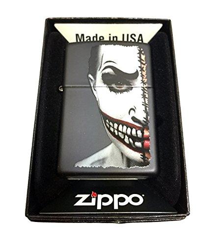 Costume Half Half Joker Batman (Zippo Custom Lighter - Half Scary Painted Clown Face - Regular Black)