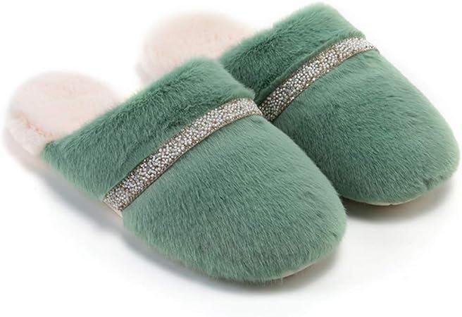 Footwear Damas Zapatillas de algodón de Interior, Zapatillas de casa para Hombre Suela Antideslizante de EVA, Pelusa Zapatillas Calientes de Invierno: Amazon.es: Hogar