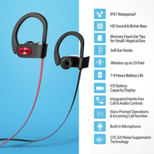 Mpow Flame Bluetooth Headphones Waterproof IPX7, Wireless Earbuds Sport, Richer Bass HiFi Stereo In-Ear Earphones w/ Mic, Case, 7-9 Hrs Playback Noise Cancelling Headsets (Comfy & Fast Pairing) - Image 3