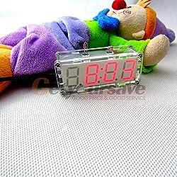 Alarm Clock - Diy Electronic Microcontroller Kit Led Digital Clock Time Thermometer Alarm 3 Colors - Jungle Port Yellow Wars Volume Zu Film Emerson Wireless Oil