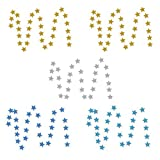 NKTM 5 Pack Sparkling Twinkle Star Paper Garland, 66 Feet Glitter Colorful Decorations for Wedding, Parties - Gold/Blue/Silver