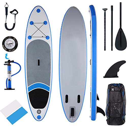 Inflatable Paddle Boards Stand Up for All Skill Levels, 10ft SUP Fishing Yoga Package w/Adjustable Paddle, Leash, Repair Kit, Fin Pump, Travel Backpack