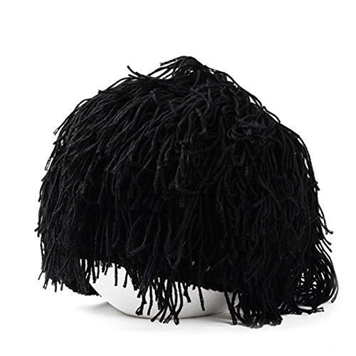 8d49e3ee520 Toyofmine Mens Boys Funny Wig Beard Hats Hobo Mad Caveman Winter Knit Warm  Hat Beanies Grey