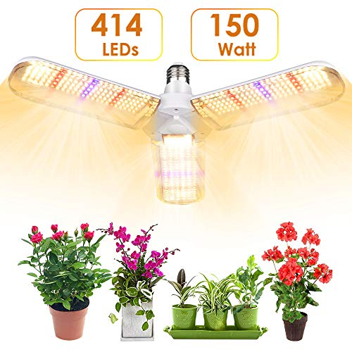 LVJING 150w LED Grow Light Bulb with 414 LED's Foldable Daylight Full Spectrum Grow Lights for Indoor Plants, Vegetables, Greenhouse & Hydroponic Growing, Grow lamp with Protective Lens | E26/E27 Sock