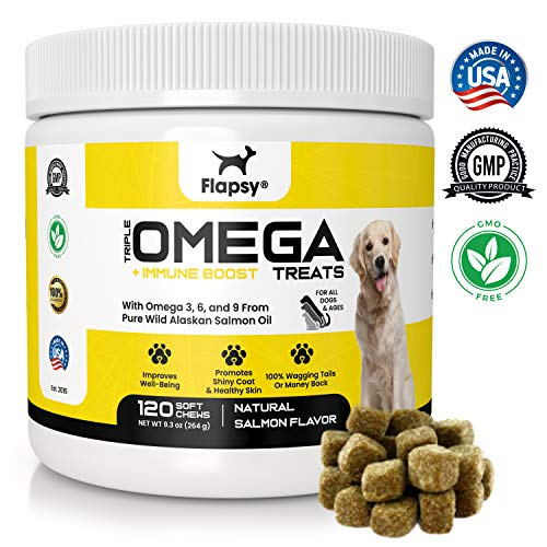 Flapsy Pure Wild Alaskan Salmon Fish Oil Dog Supplement Treats | Premium Omega 3,6 & 9 Bites for Dogs - 120 Soft Chews | Skin and Coat Dog Supplements with Vitamins, DHA & Fatty Acids