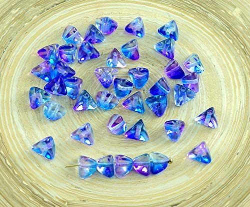 50pcs Crystal Alaska Blue Purple Czech Glass Large Half Pinch Spacer Triangle Beads 4mm x 7mm