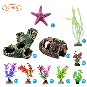 GreenJoy 12 Pack Aquarium Fish Tank Decorations Accessories Decor Set with Wood Cave, Tree Trunk Barrel Hideouts…