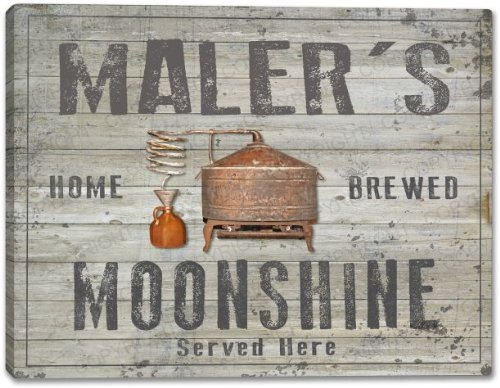 MALER'S Home Brewed Moonshine Gallery Wrapped Canvas Sign Home Wall Decor Bar Gift 24