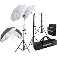 Neewer® 600W Photography Studio Triple Continuous Lighting Kit, includes:2 x White& Black/Silver Umbrella Lighting, 1 x Table Top Mini Lighting Kit