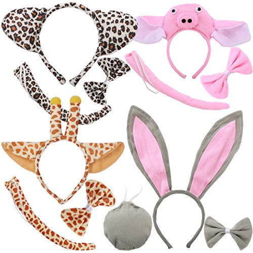 kilofly 4 Sets Kids Animal Ear Headband Bowtie Tail Cartoon Costume Party Favors -