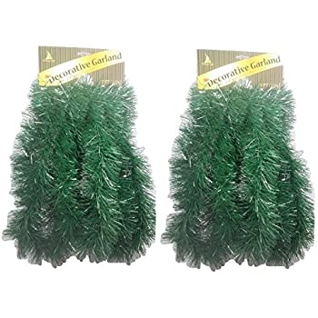 holiday crafts tm set of 2 decorative christmas garland 15 ft total - Green Christmas Garland