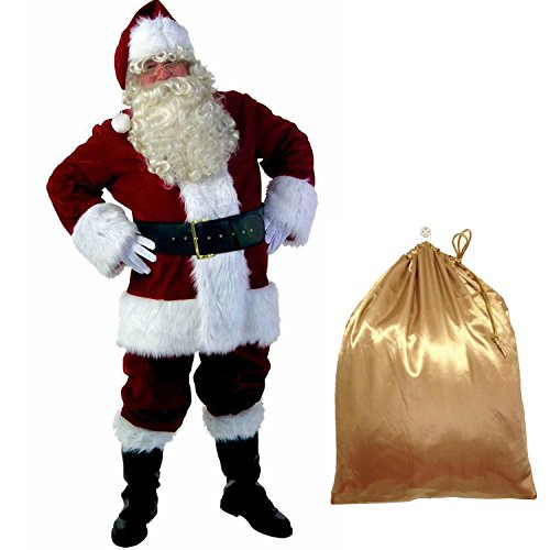 Deluxe Luxury Santa Suit - Ya-cos Christmas Santa Claus Luxury Suit Deluxe Adult Cosplay Costume Outfit 10 Pcs (Medium)