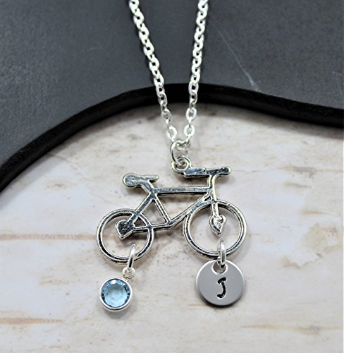 Silver Bicycle Necklace - Bike Themed Jewelry For Bicycle Lovers - Personalized Birthstone, Initial, & Chain Length - Fast Shipping