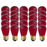 Red S14-11w Bulb - Patio string light replacement Bulb - 25 Bulbs
