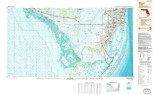 Miami FL topo map, 1:250000 scale, 1 X 2 Degree, Historical, 1988, updated 1988, 24.1 x 38.7 IN - - City Beach Place Palm Fl