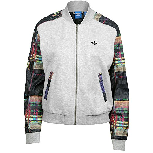 Adidas Womens Tokyo Logo Trefoil Super Track Jacket Grey Heather
