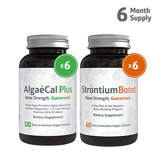 (AlgaeCal Plus and Strontium Boost - Plant Based Calcium Supplement with Magnesium, Vitamin D3, K2, and Natural Strontium Citrate. Clinically Proven to Increase Bone Density at Any Age - 6 Month Supply)