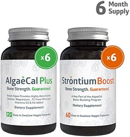 AlgaeCal Bone Builder Pack – Plant-Based Calcium Supplement with Magnesium, Boron, Vitamin K2 + D3   Includes Natural Strontium Citrate   Clinically Proven to Increase Bone Density (6 Month Supply)